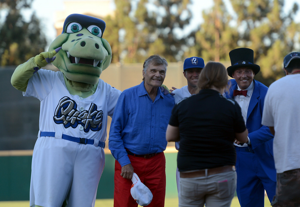 . Actor Fred Willard poses for a photo after throwing out the first pitch at the Quakes game at LoanMart Field in Rancho Cucamonga, CA, Friday, August 15, 2014. (Photo by Jennifer Cappuccio Maher/Inland Valley Daily Bulletin)