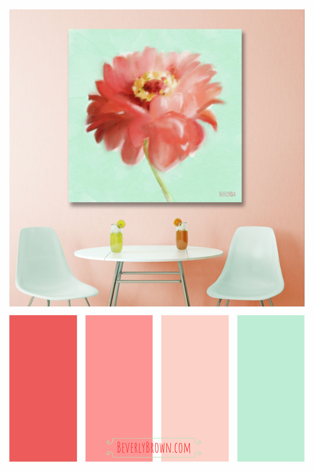 Coral, Mint Green & Peach Colorful Kitchen Color Scheme
