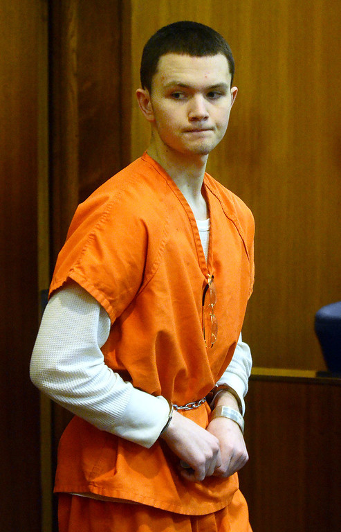 . Mitchell Young enters the courtroom before being sentenced to life with no parole for the beating death of Robert Cipriano, in the courtroom of Oakland County Circuit Court Judge Shalina Kumar,  Wednesday July 24, 2013. (Oakland Press Photo:Vaughn Gurganian)