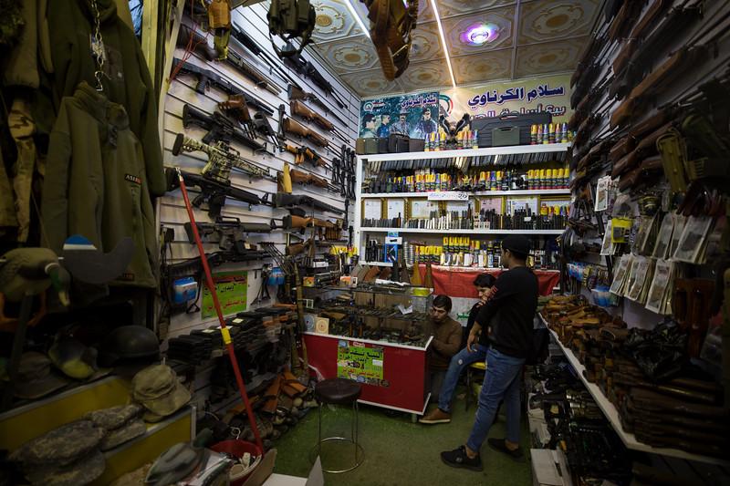 An arms shop in Basra Souq.