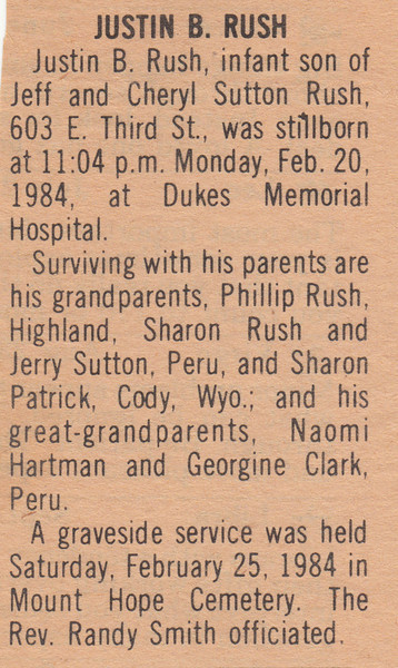 Newspaper Clipping - Obituary - Justin B. Rush - February 20, 1984.jpg