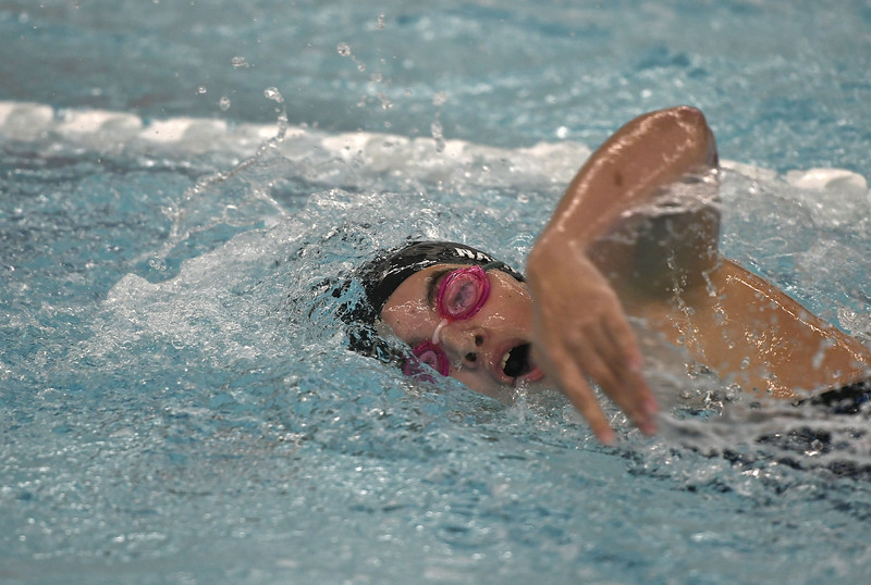 10/4/2017 Mike Orazzi | Staff Southington's Andie Nadeau during Wednesday's swim meet with Hall in Southington.
