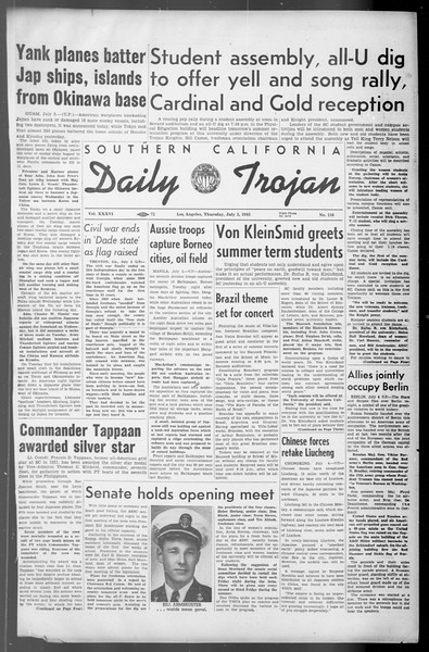 Daily Trojan, Vol. 36, No. 150, July 05, 1945