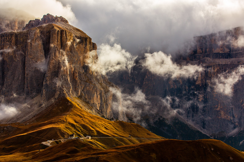 Clouds over the Sella mountain in the Dolomites