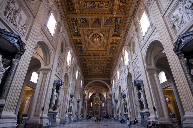 Long hallway inside St. Peter's Basilica in Rome, Italy