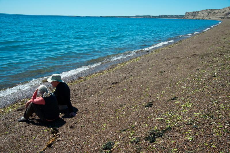 Jane y Roger en la orilla