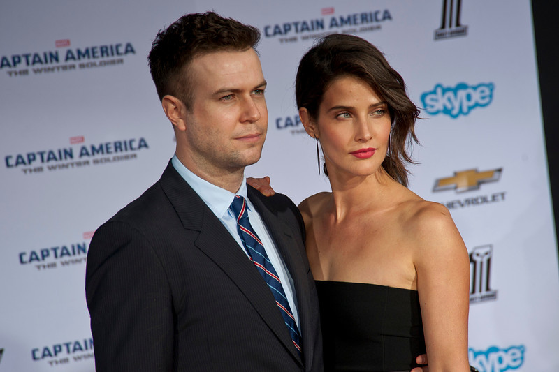 HOLLYWOOD, CA - MARCH 13: Actors Cobie Smulders (R) and Taran Killam arrive at Marvel's 'Captain America: The Winter Soldier' premiere at the El Capitan Theatre onThursday,  March 13, 2014 in Hollywood, California. (Photo by Tom Sorensen/Moovieboy Pictures)