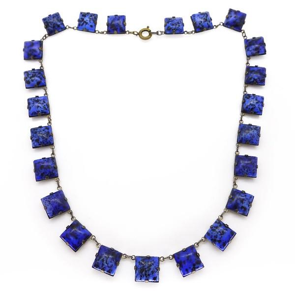 VINTAGE ART DECO CZECH BLUE LAPIS GLASS SQUARE PANEL NECKLACE