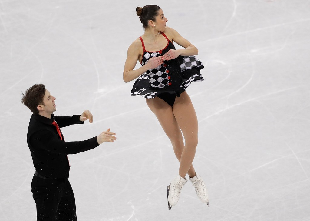 . Valentina Marchei and Ondrej Hotarek of Italy perform in the team event pair skating in the Gangneung Ice Arena at the 2018 Winter Olympics in Gangneung, South Korea, Sunday, Feb. 11, 2018. (AP Photo/David J. Phillip)