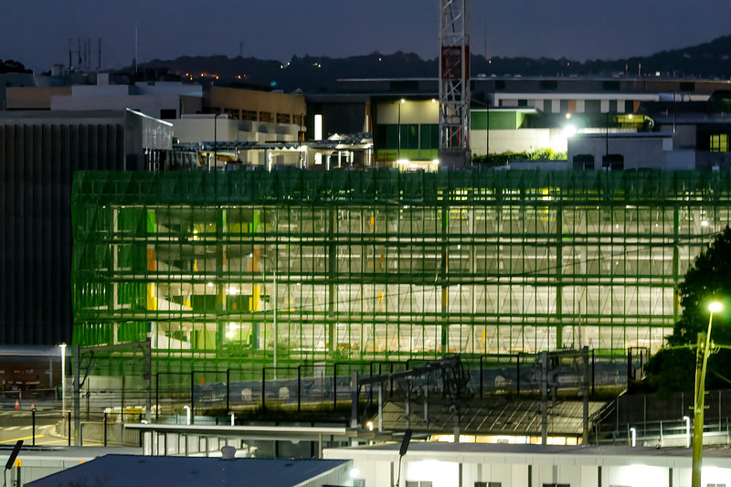 Gosford Hospital building progress  under Lights. January 1, 2019.  (h82ed)