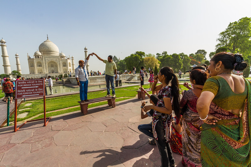 Indian Tourists Pose In Front Of The Taj Mahal, Agra, India, Asia