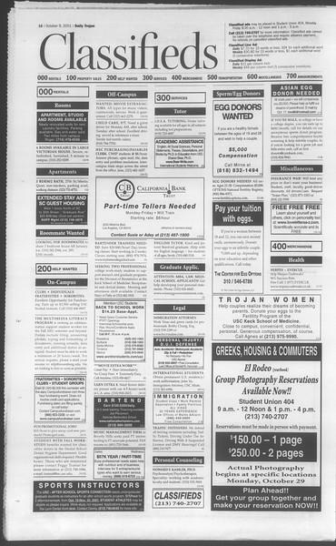 Daily Trojan, Vol. 144, No. 29, October 09, 2001