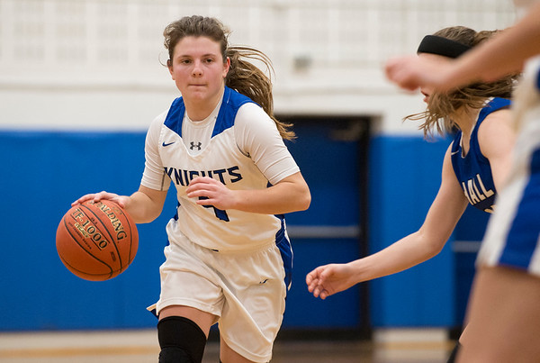 01/28/20 Wesley Bunnell | StaffrrSouthington girls basketball defeated Hall in a home contest on Tuesday night. Livy Pizzitola (4).