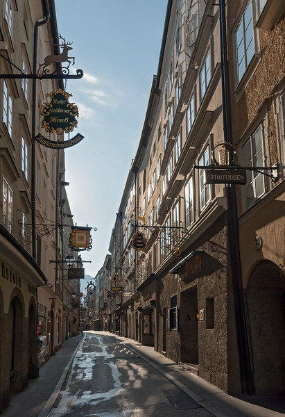 Getreidegasse - Shopping Street in Historic Centre of Salzburg, Austria