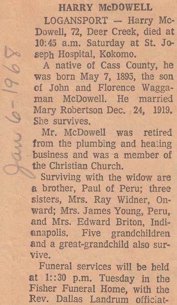 Newspaper Clipping - Obituary - Harry McDowell - January 6, 1968.jpg