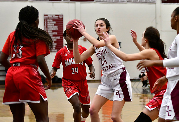 1/30/2020 Mike Orazzi   StaffrBristol Central's Sophia Torreso (24) during Thursday night's girls game with Manchester in Bristol.