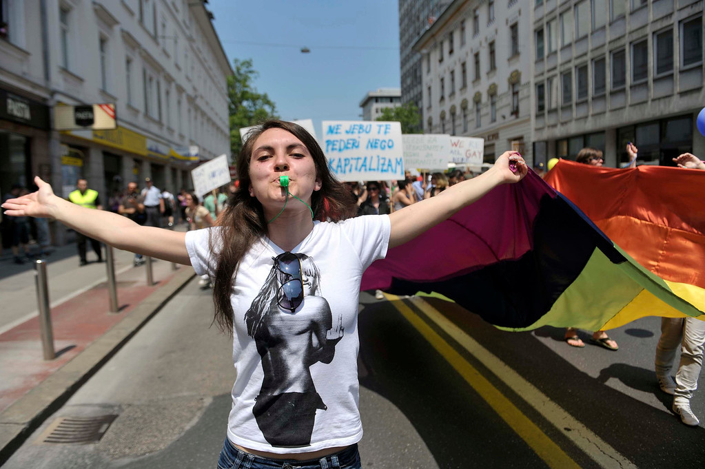 . A woman participates in a Gay Pride Parade in Ljubljana June 15, 2013. About 600 participants took part in the parade. REUTERS/Srdjan Zivulovic