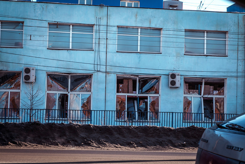 . A view of the facade of a local paint and varnish plant which was damaged by a shockwave from a meteor in the Urals city of Chelyabinsk, on February 15, 2013. A meteor strike in central Russia that left today hundreds of people injured is the biggest known human toll from a space rock, a British expert said.  OLEG KARGOPOLOV/AFP/Getty Images