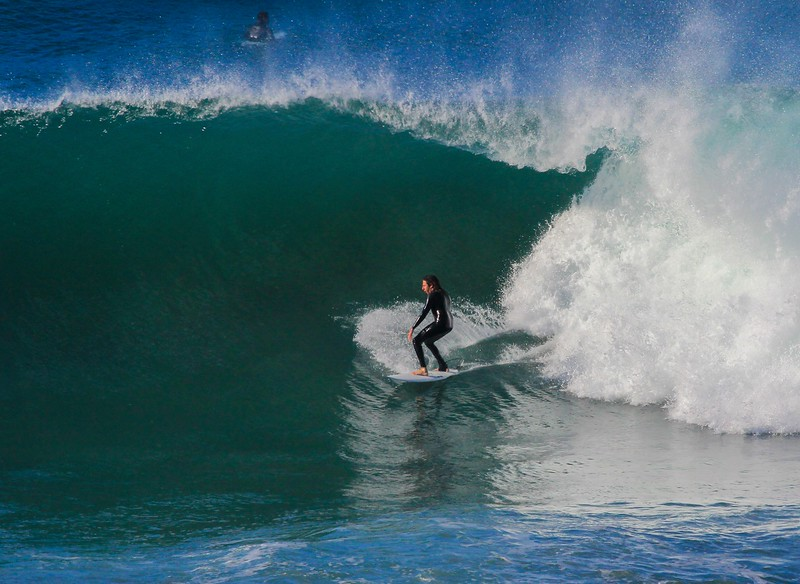 Surfers refer to wave height above median sea level, which means a 12 foot wave has a face about double the height. Some surfers called the biggest waves of the day 15 footers.