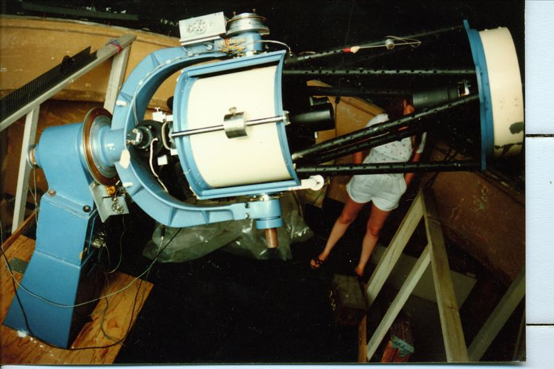 Another view of the telescope.  Here we see the both baffles -  one for the primary mirror and quite a long baffle for the secondary mirror too. Modern day optical software would have certainly found the best match.   The massive pier is sectioned for probably two reasons.   The first is  to house telescope electronics and the other is to correct the difference between the latitude of Coulter in North Hollywood California and the scopes new home in Gainsville, Florida.