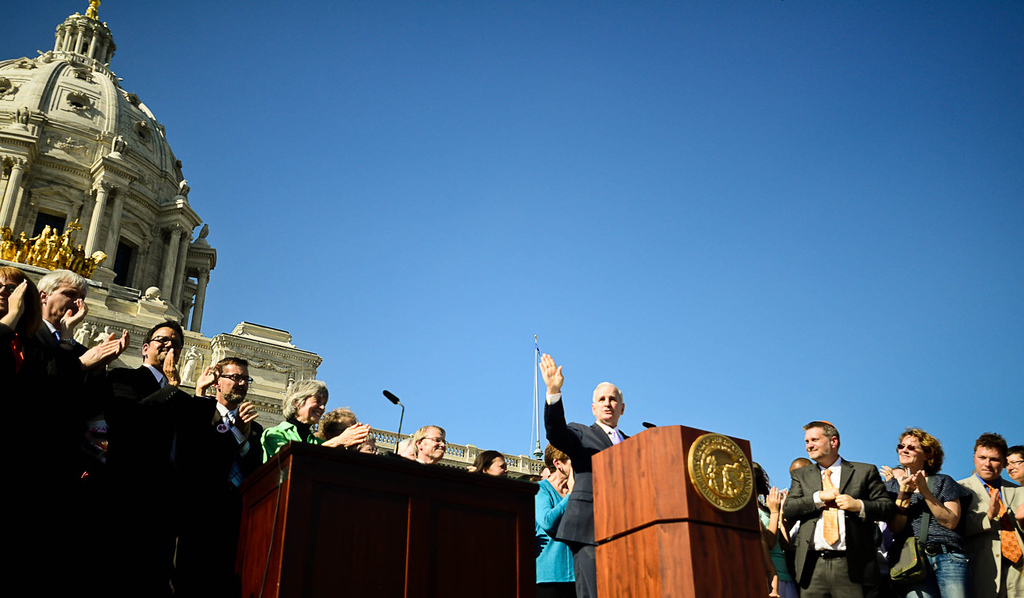 . Gov. Mark Dayton greets a massive crowd before signing the same-sex marriage bill. (Pioneer Press: Ben Garvin)