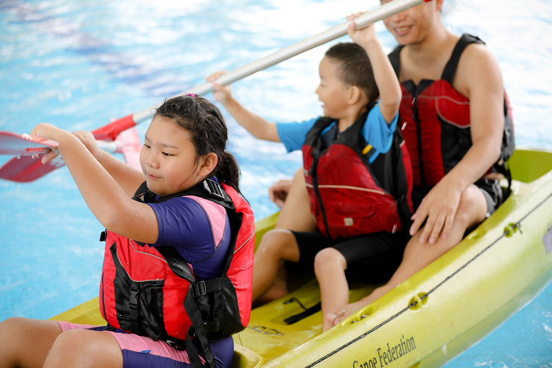 Family enojying Boating during Active Health Lab Launch, taken on 4th Feb 2018 at Heartbeat@Bedok, Singapore. Photo by Sanketa Anand/SportSG