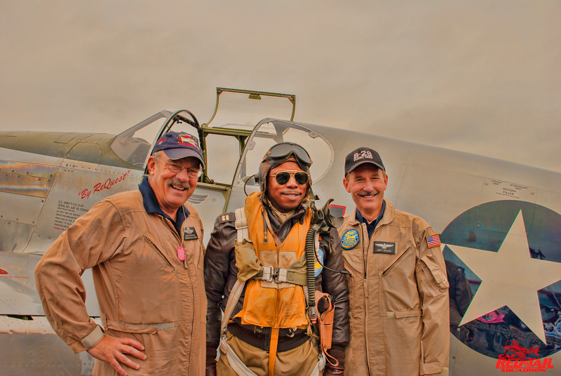 John W. McCaskill with P-51 pilot Doug Rozendaal and B-29 pilot Jeff Skiles at the World War II Weekend in Reading Pennsyslvania.