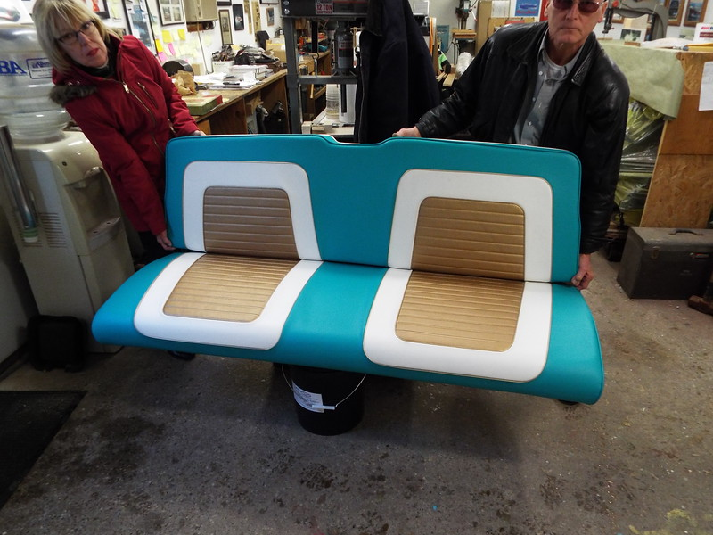 The rear seat with new upholstery.
