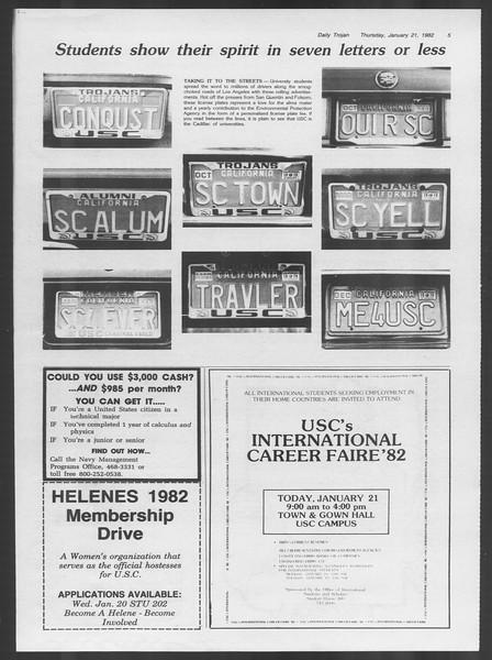 Daily Trojan, Vol. 91, No. 8, January 21, 1982