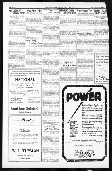 Daily Trojan, Vol. 16, No. 84, April 15, 1925