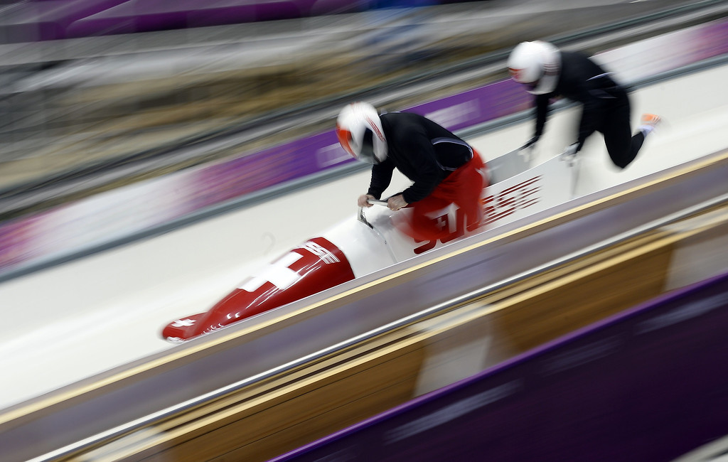 . Switzerland-1 two-man bobsleigh steered by Beat Hefti takes a practice run at the Sanki Sliding Centre in Rosa Khutor on February 13, 2014 during the 2014 Sochi Winter Olympic Games.    LIONEL BONAVENTURE/AFP/Getty Images