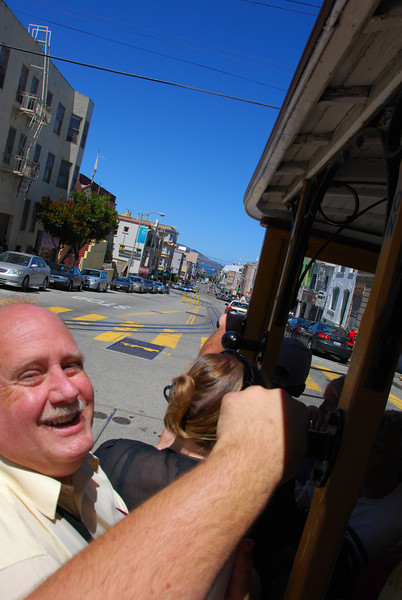 Ted on a cable car.