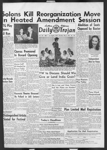 Daily Trojan, Vol. 42, No. 122, May 03, 1951