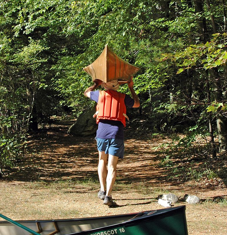 Aims leaves the canoe launch on foot