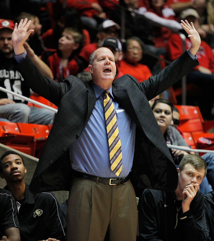 . Colorado coach Tad Boyle shouts to his players in the second half of an NCAA college basketball game against Utah on Saturday, Feb. 2, 2013, in Salt Lake City. Utah beat Colorado 58-55. (AP Photo/Steve C. Wilson)