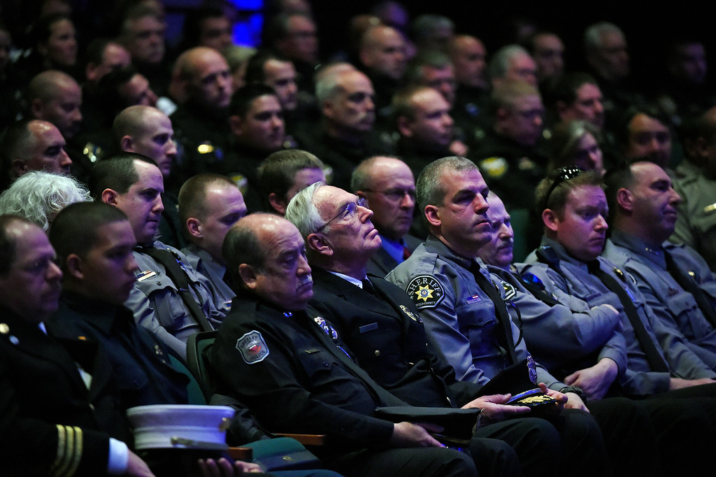 """. ARVADA, CO - MARCH 14: Hundreds of police and sheriff deputies, family and friends gathered for the memorial service for Park County Deputy Corporal Nathaniel \""""Nate\"""" Carrigan at Faith Bible Chapel on March 14, 2016 in Arvada, Colorado. Carrigan was killed in the line of duty while serving a warrant in Bailey, Colorado on February 24, 2016. (Photo by Helen H. Richardson/The Denver Post)"""