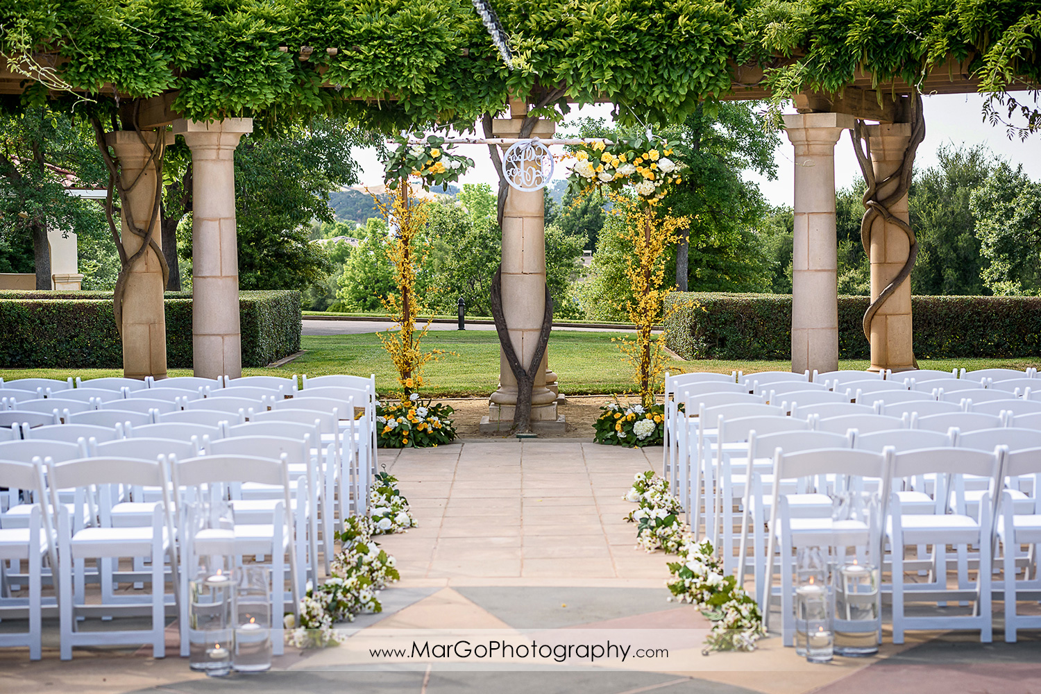 wedding ceremony site at the Club at Ruby Hill in Pleasanton