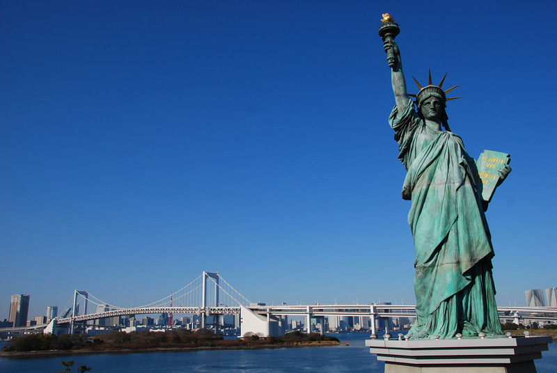 Statue of Liberty (Replica) with Rainbow Bridge in the Background -- Odaiba, Tokyo, Japan  (C) 2008 Brian Neal