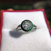 1.30ctw Old European Cut Diamond Emerald Target Ring 34