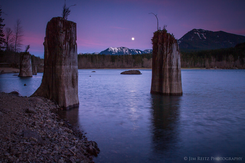 Moonrise over Rattlesnake Lake, near North Bend, WA.