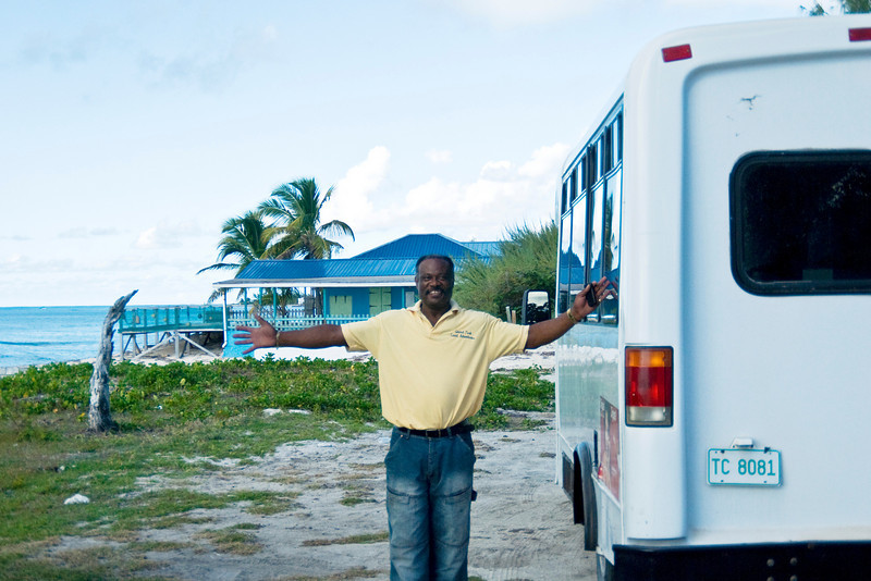 Our tour bus driver and guide in Grand Turk