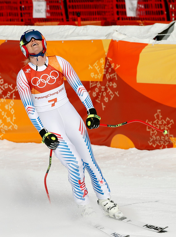 . United States\' Lindsey Vonn reacts in the finish area of the women\'s downhill at the 2018 Winter Olympics in Jeongseon, South Korea, Wednesday, Feb. 21, 2018. (AP Photo/Christophe Ena)