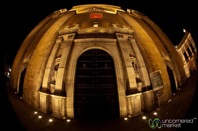 Merida Cathedral at Night, Fisheye - Yucatan, Mexico