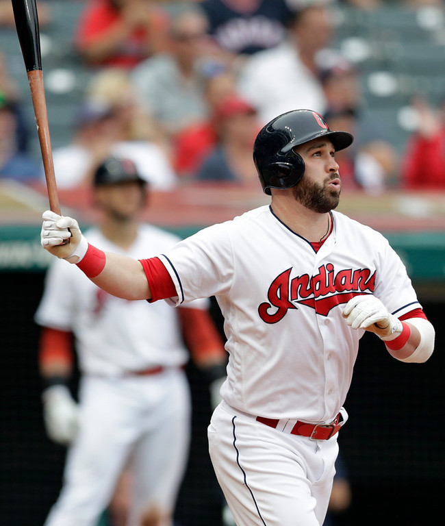 . Cleveland Indians\' Jason Kipnis watches his ball after hitting a three-run home run off Chicago White Sox relief pitcher Bruce Rondon in the sixth inning of a baseball game, Wednesday, June 20, 2018, in Cleveland. Edwin Encarnacion and Yonder Alonso scored on the play. (AP Photo/Tony Dejak)