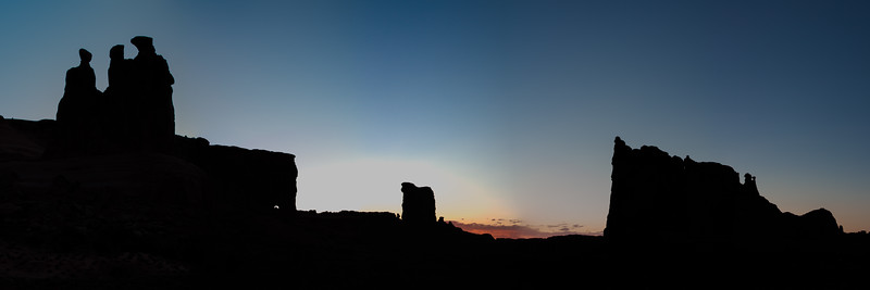 The Three Gossips, Sheep Rock & The Tower of Babel at sunset. Arches National Park, Utah. This is a 5 shot panorama.