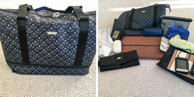 Two photos: First one is Baggallini expandable carry on duffle in black print. Send photo shows all of the items that were packed inside.
