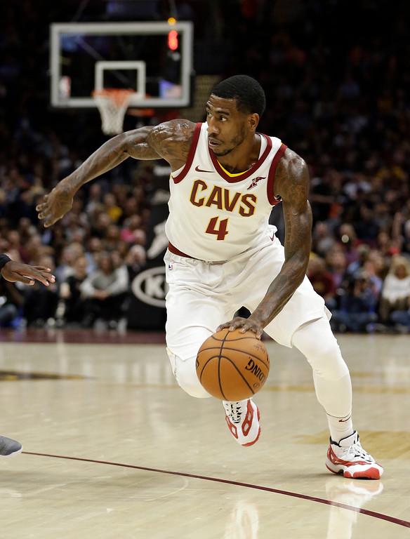 . Cleveland Cavaliers\' Iman Shumpert goes to the Sacramento Kings. (AP Photo/Tony Dejak)