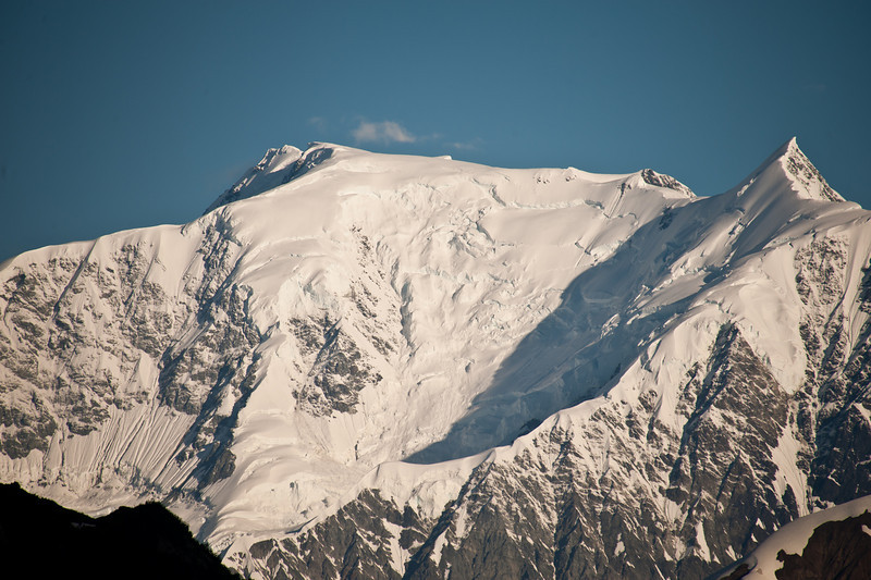 Recent avalanche on a nearby mountain top.