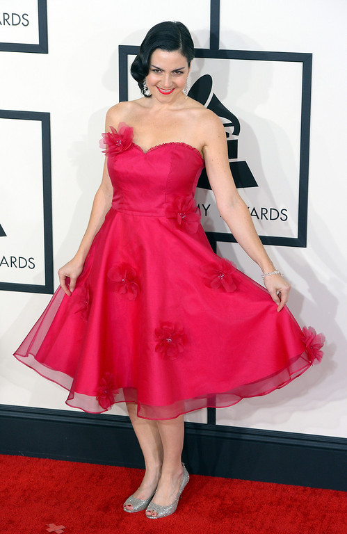 . Jennifer Gasoi arrives at the 56th Annual GRAMMY Awards at Staples Center in Los Angeles, California on Sunday January 26, 2014 (Photo by David Crane / Los Angeles Daily News)