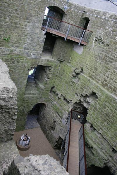 Looking down, inside the castle.